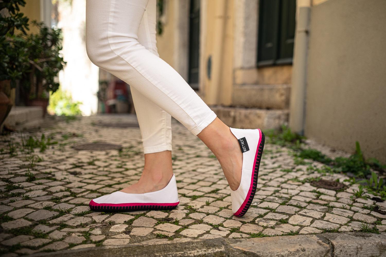 Botties® Inspiration – DIY Schuhe – Schuhe nähen – Ballerinas – Weiß und Pink – Anleitungen und Schnittmuster