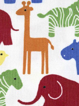 Babycord Stoff mit bunten Tieren / Westfalenstoffe